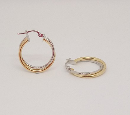 Double Yellow & White Gold Hoop Earrings 15mm