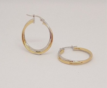 Double Yellow & White Gold Hoop Earrings 20mm