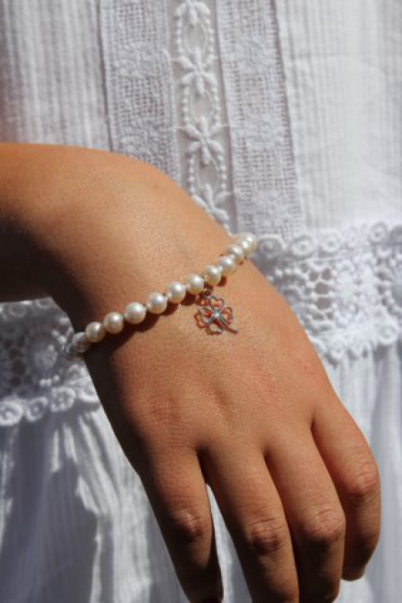 Pearl Bracelet With Shamrock Charm