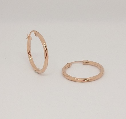 ROSE GOLD TWIST HOOPS 20MM