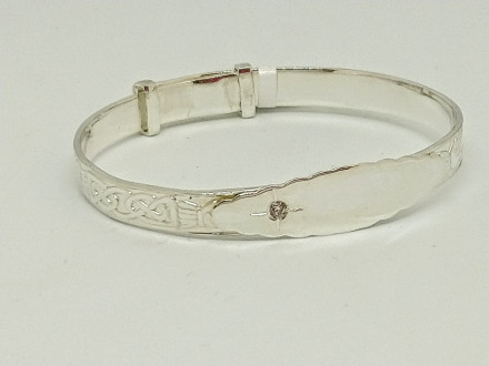 Sterling Silver & CZ Celtic Baby Bangle