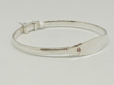 Sterling Silver Plain Pink CZ Baby Bangle
