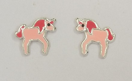 Childrens Silver Pink Unicorn Stud Earrings