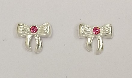 Childrens Silver Bow and Pink CZ Earrings