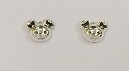 Childrens Silver Mouse CZ Earrings