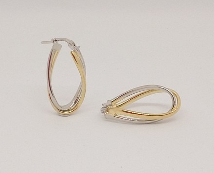 YELLOW & WHITE GOLD OVAL DOUBLE TWIST EARRINGS